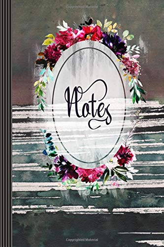 Notes: Stylish Floral Feminine Vintage Batik Watercolor Graphic Design Art Diary Book Gift Girls Women Floral Journaling Book Composition Notebook, 6
