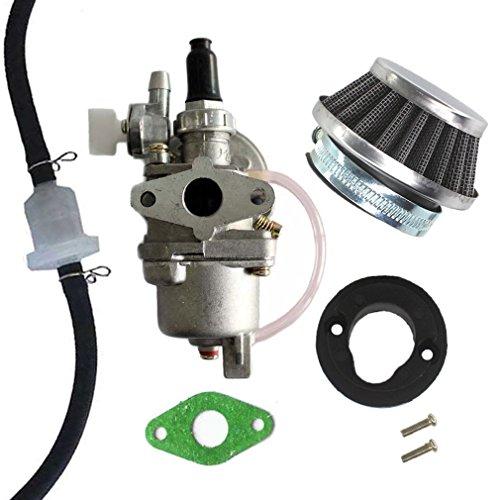 AISEN Vergaser mit Luftfilter Benzin Schlauch Filter für 47cc 49cc Pocketbike Dirtbike Benzinhahn Pocket 2 Takt -