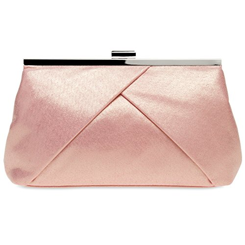 CASPAR klassische Damen Satin Clutch/Abendtasche in stylischem Design - viele Farben - TA320, Farbe:roségold