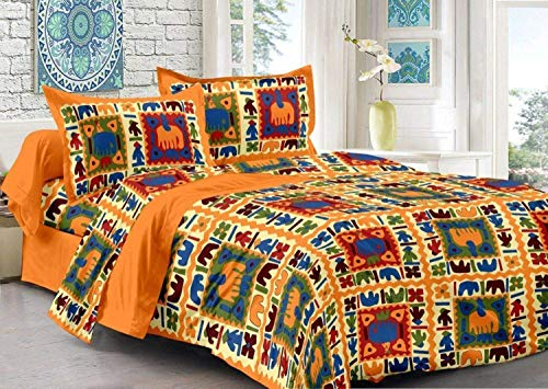 Jai Classic Cotton Jaipuri Double Bedsheet with 2 Pillow Covers