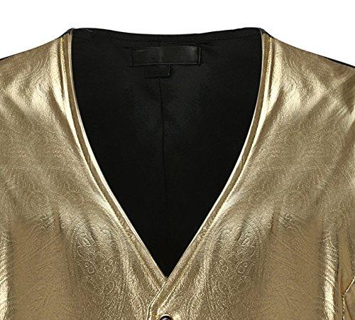 Uomo Classico Formale Senza Maniche Elegante Casual Slim Fit Gilet Oro