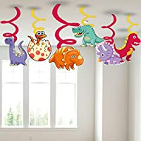 Party Propz Happy Birthday Dinosaur Swirl Decorations for Kids (Multicolour) - Set of 6