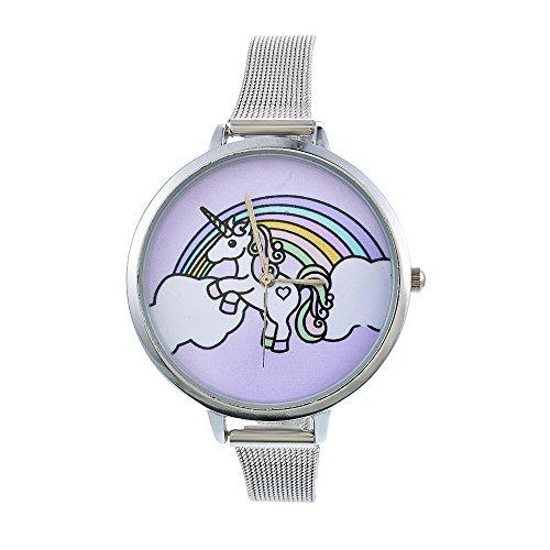 Souarts Damen Armbanduhr Einfach Mesh Metallarmband Flamingo Ananas Regenbogen Casual Analoge Quarz Uhr Silber Farbe Mädchen Uhr