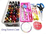 #7: Goelx All Sewing materials combo with multiple accessories- threads-colorful buttons-scissor-needles-boobins-tailor marker-stitch opener-bobbin case-craft cutter-measuring tape-hooks-tich buttons