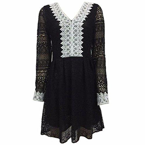 QIYUN.Z Les Femmes Noires a Manches Longues En Dentelle Au Crochet Col V Tunique De Base Creuse Robe Partie Noir