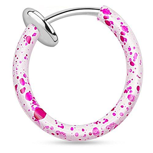 Piercingfaktor Universal Fake Piercing Septum auch für Tragus Helix Ohr Nase Lippe Brust Intim - Klemmring Farbspritzer Weiß Pink