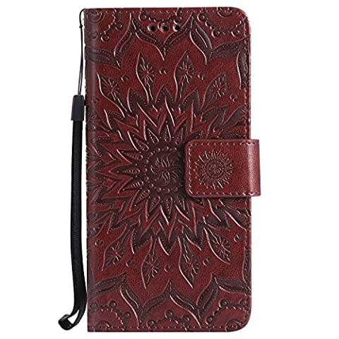 Samsung Galaxy S7 edge Case Leather, Ecoway Sun flower embossed pattern PU Leather Stand Function Protective Cases Covers with Card Slot Holder Wallet Book Design Detachable Hand Strap for Samsung Galaxy S7 edge -