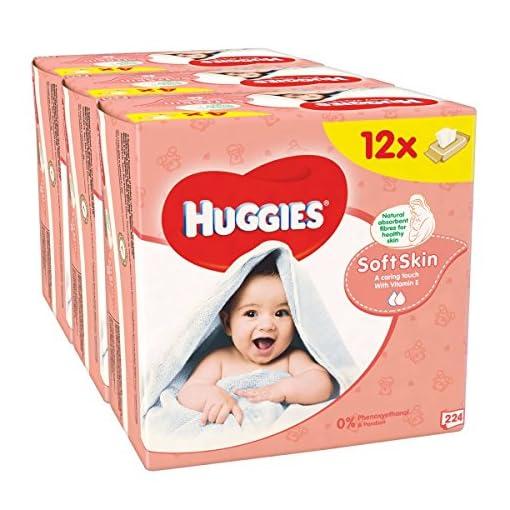 Huggies Soft Skin Baby Wipes – 12 Packs (56 Wipes Per Pack, Total 672 Wipes) 513KFPAPEcL