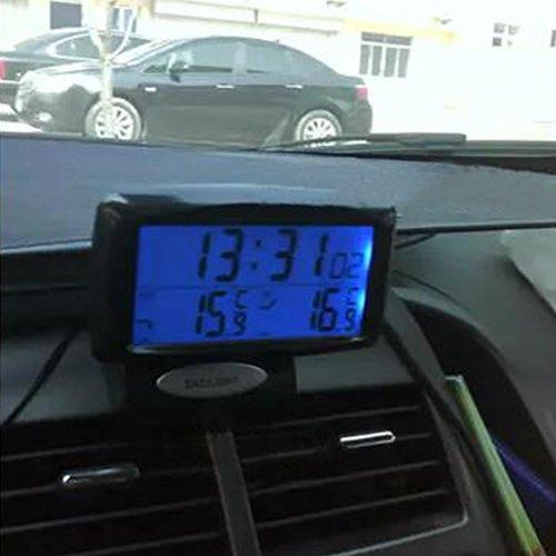 Display Digitale Nero LNIMIKIY Kit 2 in 1 per Auto Orologio elettronico Strumento di misurazione della Temperatura Interno ed Esterno termometro con retroilluminazione