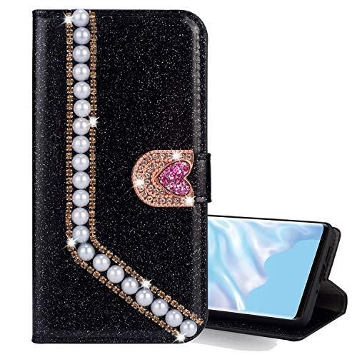 Nadoli Leder Hülle für Huawei Mate 10 Lite,Luxus Bling Glitzer Diamant 3D Handyhülle im Brieftasche-Stil Perle Herz Flip Schutzhülle Etui für Huawei Mate 10 Lite,Schwarz