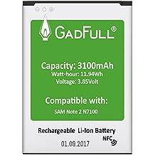 GadFull Batería para Samsung Galaxy Note 2   Fecha de Fabricación del 2017   Corresponde al Original EB595675LU   Modelo de Smartphone GT-N7100   GT-N7105   Perfecto como Batería de Repuesto