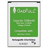 GadFull Batería para Samsung Galaxy Note 2 | Fecha de fabricación del 2017 | Corresponde al Original EB595675LU | Modelo de Smartphone GT-N7100 | GT-N7105 | Perfecto como batería de Repuesto