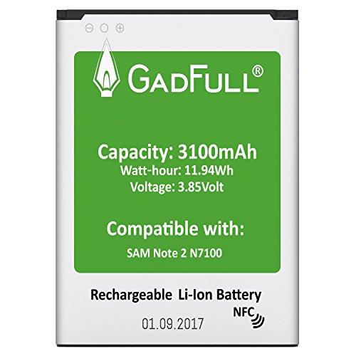 GadFull® Batterie pour Samsung Galaxy Note 2 | Date de Production est 2017 | correspond à d'origine EB595675LU | du modèle GT-N7100 | GT-N7105 | Parfait comme batterie de remplacement