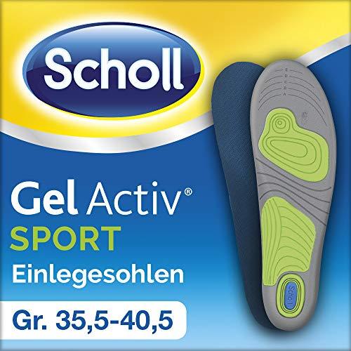 Scholl GelActiv Einlegesohlen Sport (für Sportschuhe von 35,5-40,5 - 30% Stoßdämpfung und Entlastung der Gelenke, selbstklebende Gelsohlen) 1 Paar