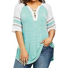 Camiseta Blusa para Mujer Sexy, Covermason Las Mujeres Ocasionales del Vendaje más tamaño Top Patchwork