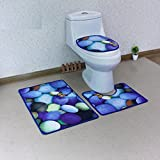 Wc WC WC tre pezzi di sedile di gabinetto camera da letto cuscino entrata Tappetino assorbente dell'acqua,antislittamento ciottolo,Tuba