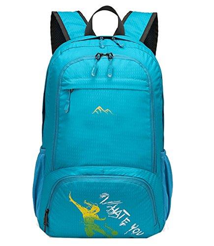 lethigho Zaino da viaggio pieghevole leggero Packable Handy Borsa impermeabile escursionismo zaino spalle borsa pieghevole resistente per campeggio arrampicata viaggio, Rose Red Blue