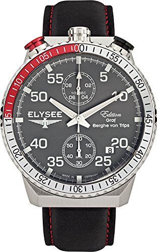 ELYSEE Men's Rally Timer I 44mm Black Leather Band Steel Case Quartz Grey Dial Analog Watch 80516G