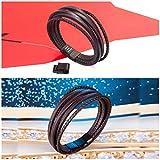 Murtoo Edelstahl Echtleder Armband schwarz|braun geflochten mit Magnet Verschluss(22cm) (BraunB) - 3