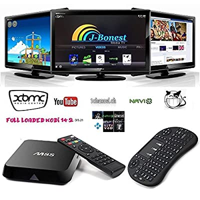 J-Bonest [With Wireless Mini keyboard] 4K Quad Core S812 M8S Wifi Android 4.4 Smart Hdmi HTPC TV BOX Mini PC Streaming Media Player with Free KODI(XBMC) 15.2 add-ons Streamer 2GB/8GB Fully Loaded 1080p Home Entertainment Support Airplay Miracast 3D Blu-ra