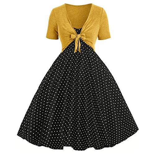 Auied Damen Sommer Fresh Wave Point Print Kleid Sling Pullover Zweiteiliges Set Abendkleid