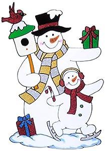 WIDMANN?Vetrofania par muñecos de nieve Unisex-Adult, multicolor, talla única, vd-wdm1230z