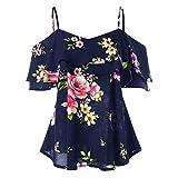 feiXIANG Oberteile Damen, Sling Rüschen Shirt Tank Tops Bluse Pullover Streetwear Oversize Blumendruck Weste (Marine,L)