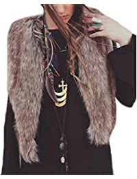7e03e598fc25 Sunward Women's Faux Fur Waistcoat Vest Winter Warm Short Outerwear Jacket  Coat