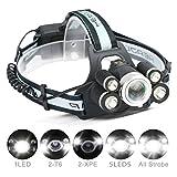 Lampe à tête LED, CAMTOA Lampe Super Bright à 5 LEDs XML-T6 8000 Lumens Zoomable étanche à l'eau 4 LED Modes Torche LED avec 2 pces 18650 Batteries Rechargeables, Câble USB, Parfait pour le Camp Noir