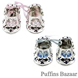 Lesser and Pavey - Little Treats Silver Plated Crystal Baby Shoes (Blue)