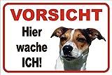 AdriLeo Schild Vorsicht Jack Russell Terrier Hier Wache ich 15x20 oder 20x30 (15x20cm)