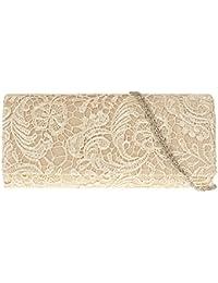 Bolso de mano tipo sobre con encaje, marca Accessorize-me - Referencia 09222 - Satén, 26 x 4.8 x 11. cms, Dorado