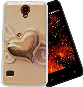 ECellStreet Exclusive Sparkle Printed Soft Back Case Cover Back Cover ForReliance Jio LYF Flame 4 - Gold Heart