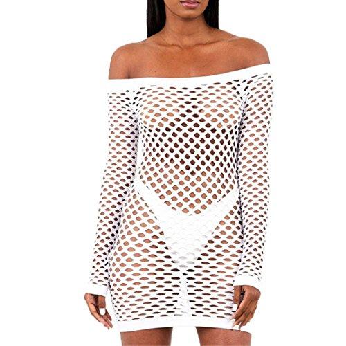 GWELL Damen Sexy Netzkleid Off Schulter Mesh Dessous Mini Kleid Clubkleid Negligee Nachtwäsche Reizwäsche Weiß XL -