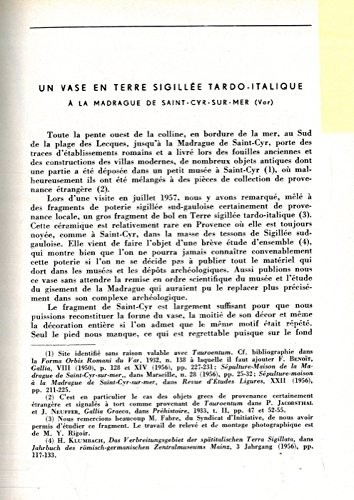 Un vase en terre sigillee tardo-italique a' la Madrague de Saint-Cyr-sur_Mer (Var) .
