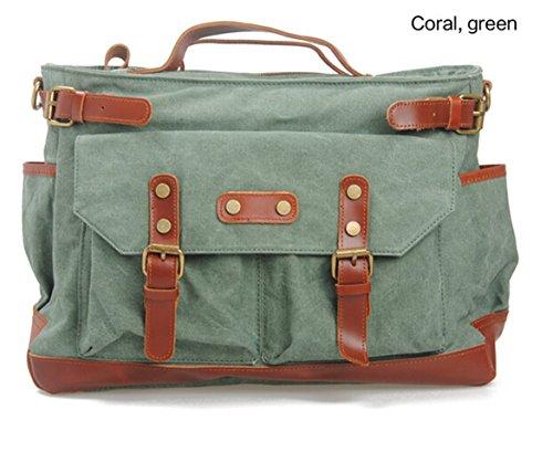 Aidonger Unisex Vintage della tela di canapa e spalla in pelle Borsa retrò Messenger Bag (Cachi) Coral Green