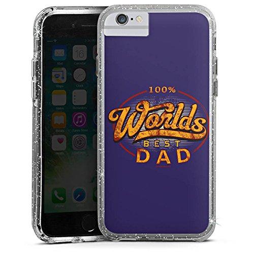 Apple iPhone X Bumper Hülle Bumper Case Glitzer Hülle Worlds Best Dad Best Bester Bumper Case Glitzer silber