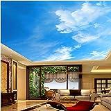 Moderne Fototapete 3D Blauer Himmel und weiße Wolken Wohnzimmer Schlafzimmer Decke Wandbild Vlies Druckwandpapierrollen XXL 250X654CM