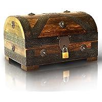 Brynnberg - Caja de Madera Cofre del Tesoro con candado Pirata de Estilo Vintage, Hecha a Mano, Diseño Retro 24x16x16cm - Muebles de Dormitorio precios