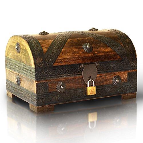 Brynnberg Scrigno del tesoro con lucchetto vintage Bauletto stile antico per accessori gioielli oggetti di valore, Cassaforte in legno, Idea regalo decorativa 24x16x16cm