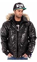 Aviatrix Mens Boys Bubble Hooded Puffer Bomber Black Leather Jacket