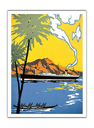 Pacifica Island Art Hawaii - Dampfer Und Outrigger Canoe - Matson Navigation Company - Vintage Retro Welt Reise Plakat Poster c.1930s - Premium 290gsm Giclée Kunstdruck - 30.5cm x 41cm - Hawaii Outrigger Canoe