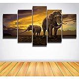 DGGDVP Leinwandbilder Malerei Afrikanische Elefanten Wandkunst Poster für 5 Panels Tier Dekoration Wohnzimmer Modulare Bilder Rahmengröße 1 kein Rahmen