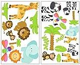 25-teiliges Safari Tiere Wandtattoo Set Giraffe Wandsticker Löwe Kinderzimmer