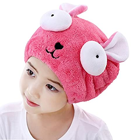 Girls' Super Absorbent Hair Drying Wrap Towel Hat Cartoon Cute Rabbit Coral Velvet Wet Hair Dry Turban Wrap Quick Dry Head Towel Cap Hat for Bathing Shower Washing Hair Spa Towel for Kids, Pink