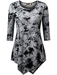 DJT Femme T-shirt Tie-dyed Manches 3/4 Col Rond Tops tombe bien