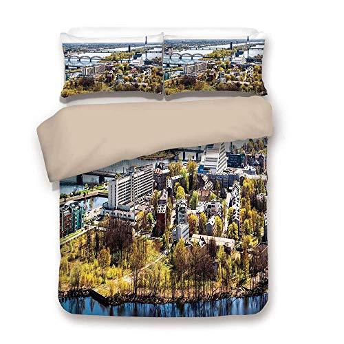 Copripiumino, paesaggio urbano, veduta aerea della città di riga moderna urbana culturale europea stampa orizzonte con torre antica decorativa, multi, decorativa 3 pezzi biancheria da letto set di 2 c