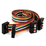 sourcingmap® Conector de cable plano IDC Arco iris Plana 2pcs 43cm 1.4ft 14P 14 forma F/F