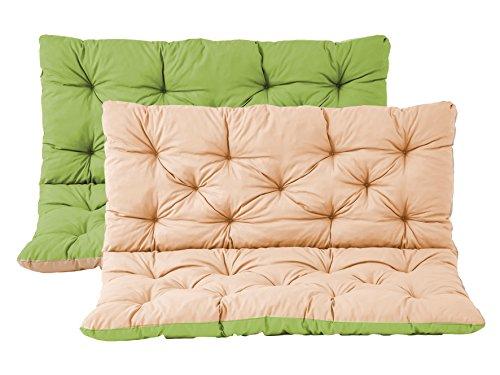 Bankauflage mit Rückenteil Sitz und Rückenkissen mit Bänder 120x98 cm Wendeauflage Polsterauflage 2-Sitzer Gartenbank Wendekissen grün beige