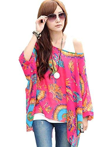D-Trend Phoenix - Muster Unkonventionellen Stil Kleidung T-Shirt Fledermaus Batwing Damebluse Tunika